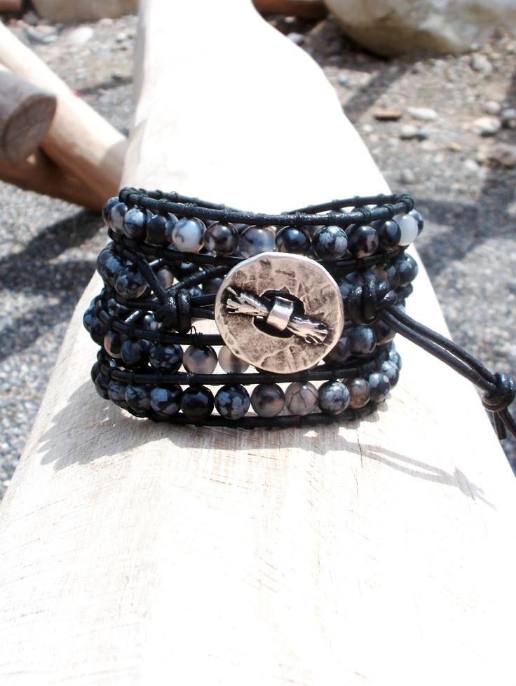 Pulsera de piel con Ágata negra y obsidiana