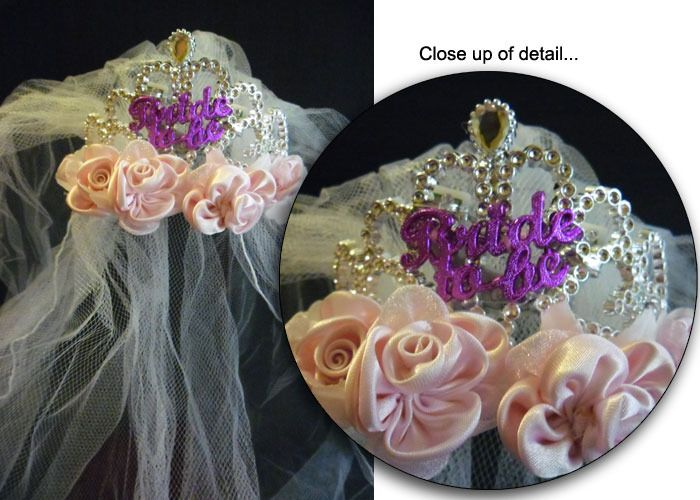 Tiara with Veil - Flashing - Bride To Be