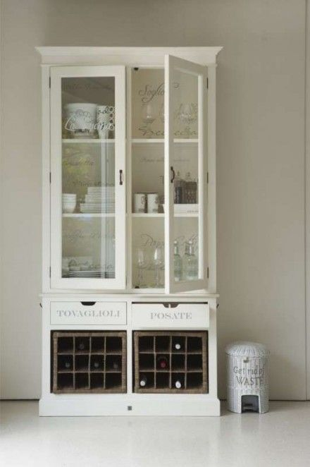 "Add wooden crates for ""wine holders"" where cupboard doors were.  Add lettering to glass and drawers!  Rivièra Maison Buffetkast La Cucina Italiana"