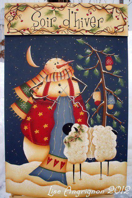 Claralesfleurs 2013 - Le bonhomme de neige de mon amie Lise d'après un patron de Renee Mullins.