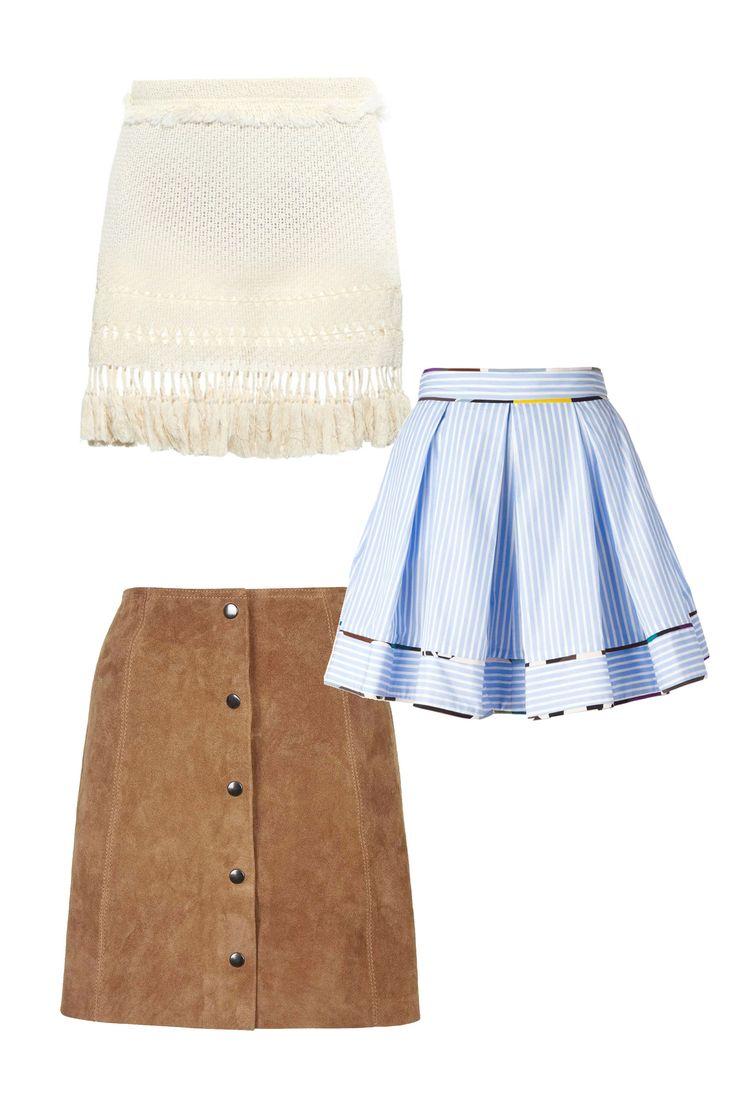 Isabel Marant Tifen Fringed Mini Skirt, $650; matchesfashion.com MSGM Striped Skirt, $385; marissacollections.com Topshop Suede Popper Front Skirt, $140; topshop.com     - ELLE.com