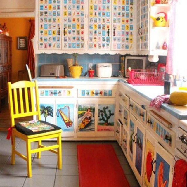 Loteria Mexicana inspired kitchen. LOVE IT!  BTW.... Lotería is a Mexican game of chance, similar to bingo, but using images on a deck of cards instead of plain numbers on ping pong balls. Every image has a name and an assigned number, but the number is usually ignored. ~PinDiv@~