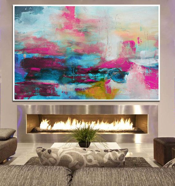 Abstract Painting Pink Blue Painting Large Abstract by BuyWallArt