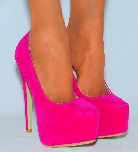 Ladies Womens Fuchsia Hot Bright Pink Court Shoes Platforms High Heels Stiletto faux Suede Heel 3-8  [UK & Ireland £24.99 ]