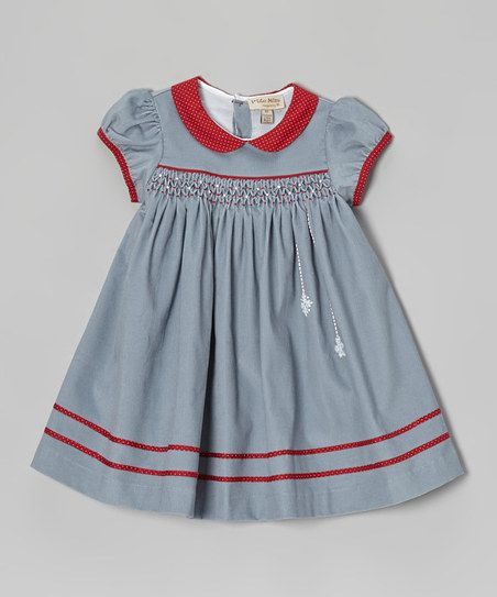 Ptite Môm Gray & Red Snowflake Smocked Dress - Infant | zulily
