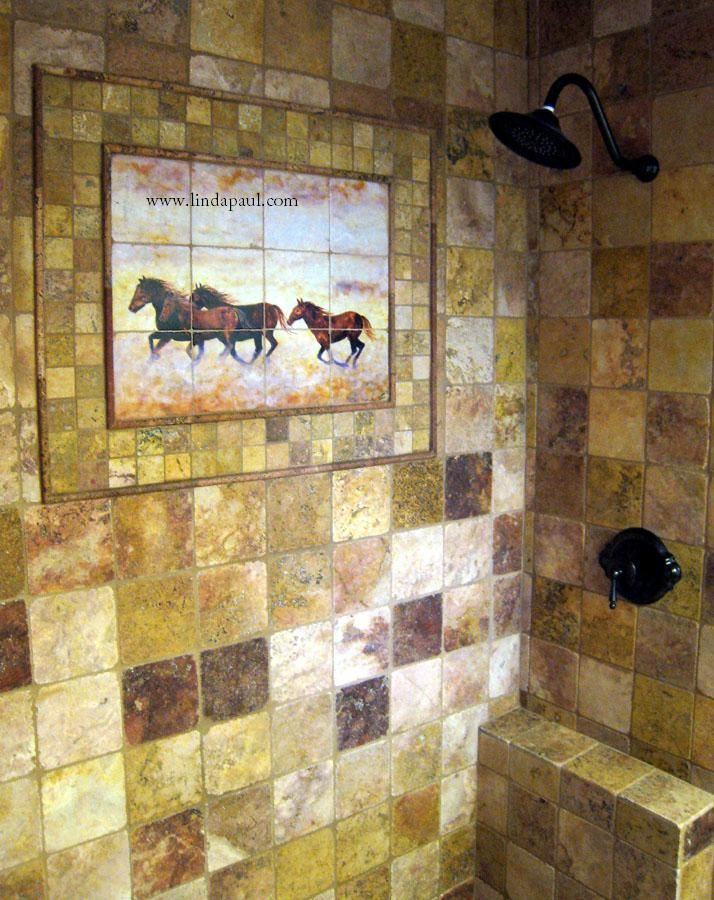 Bathroom, : Fancy Wild Horses Bathroom Tile Shower Stall Mural With RUstic  Pattern Wall Tile For Rustic Bathroom Decoration Ideas