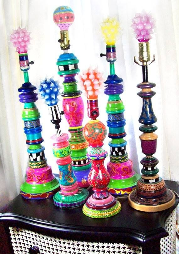 Colorful, whimsical upcycled lamp stands with funky light bulbs