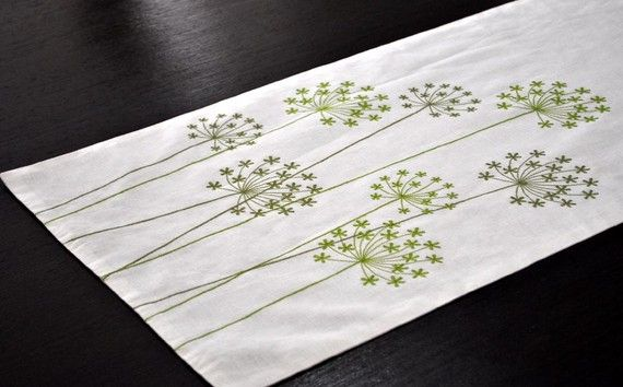 Table Runner Linen Table Runner Cream Linen Green by KainKain