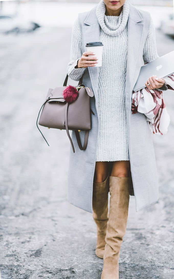 Hello Fashion - Celine Bag, Grey Vest, White Knit, Over the Knee Boots