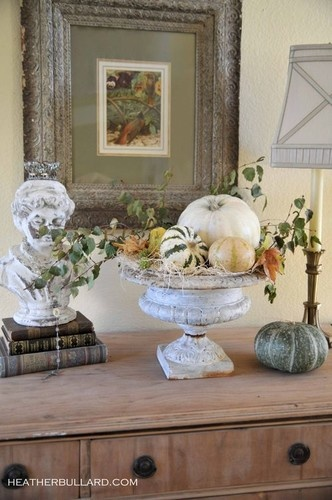 Fall vignette with gourds - Roberta PhilbrickDecor Ideas, Fall Decor, Autumn, Fall Vignettes, Traditional Exterior, White Pumpkin, French Country Design, Fall Display, Fall Arrangements