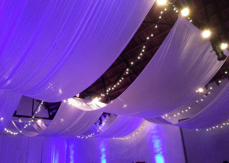 draped ceiling - idea to cover up dropped ceiling ...