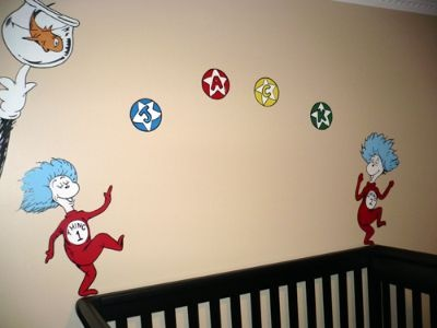 23 best images about thing 1 and thing 2 on pinterest for Dr seuss nursery mural