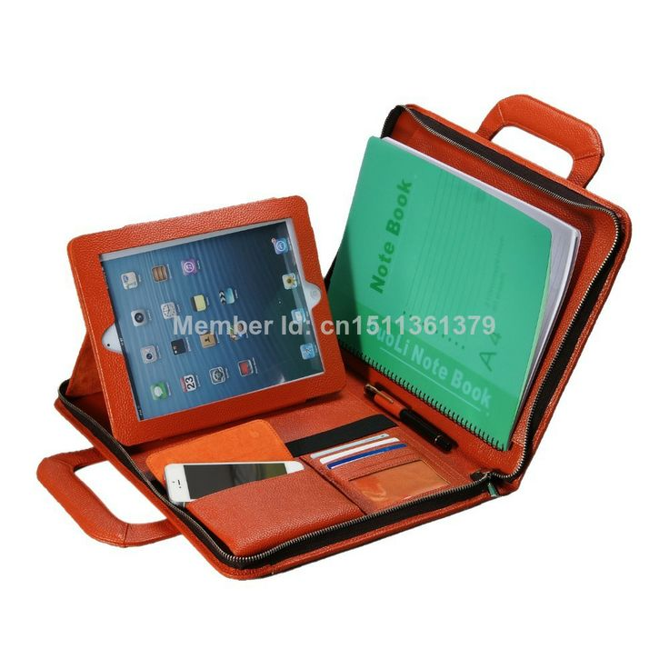 Orange Briefcase with Handles for Businessmen to Hold iPad $109.99