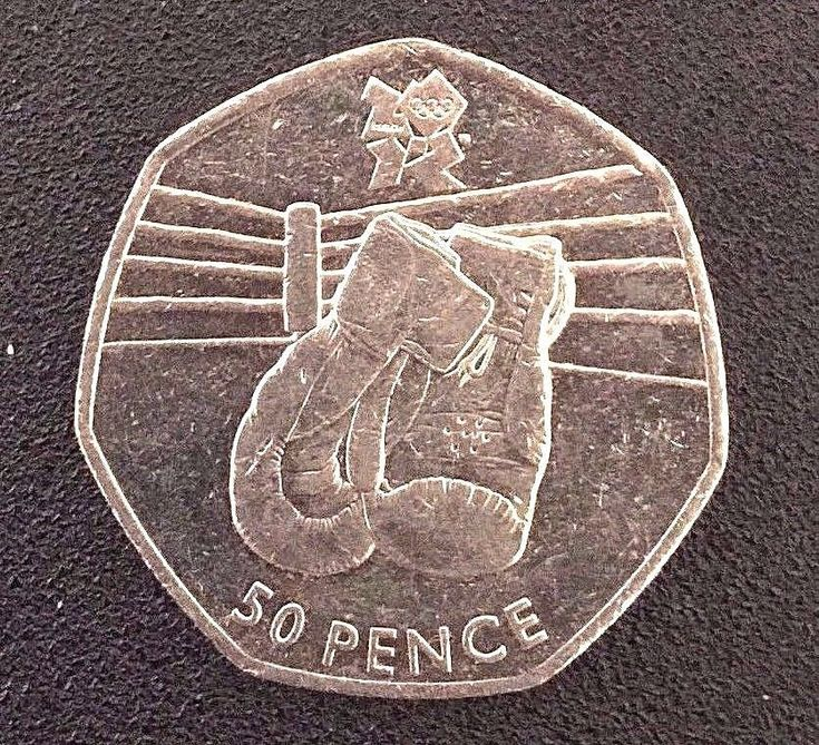 50p coin. London Olympic Boxing 50 Pence. 2016 coin  Collectable Coin Hunt