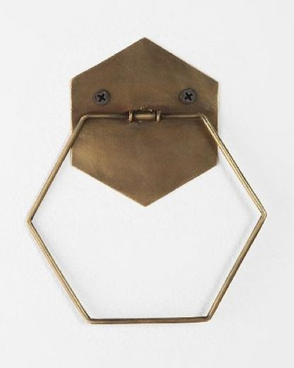 Never thought I'd find the perfect towel holder but here it is: Brass hexagonal towel holder!