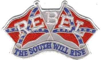 "Tygmärke Rebel ""The South Will Rise"" Storleken är 10x6cm Atikelnummer:10500"