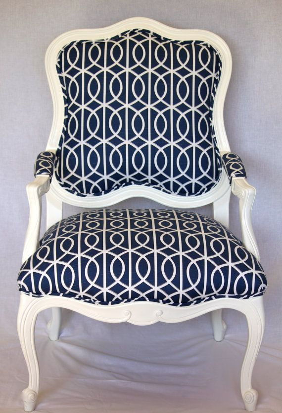 Vintage FrenchInspired Arm Chair Reupholstered in by atlashome