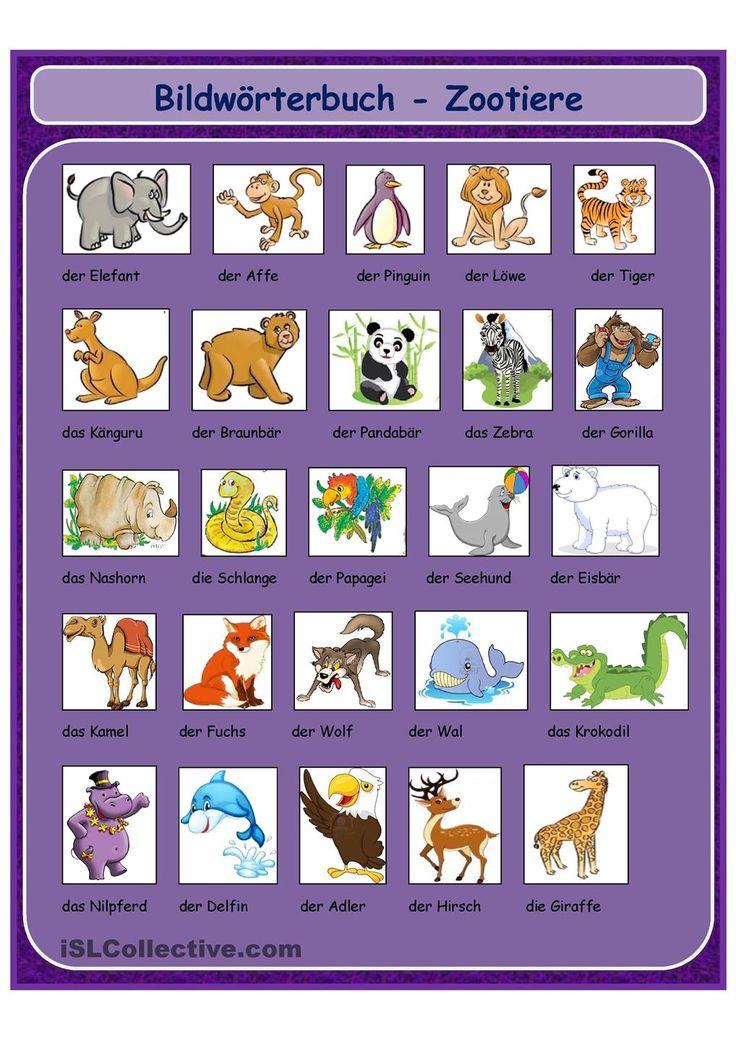 Bildworterbuch Zootiere