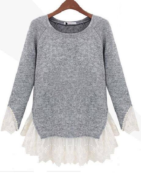 Love this Gray Lace Splicing Sweater.So sweet.Enjoy free shipping at Romoti.com