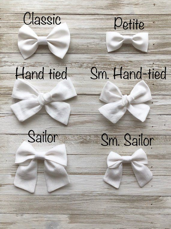 Girls Small Hair Bow Clips Sold In Pairs Handmade White