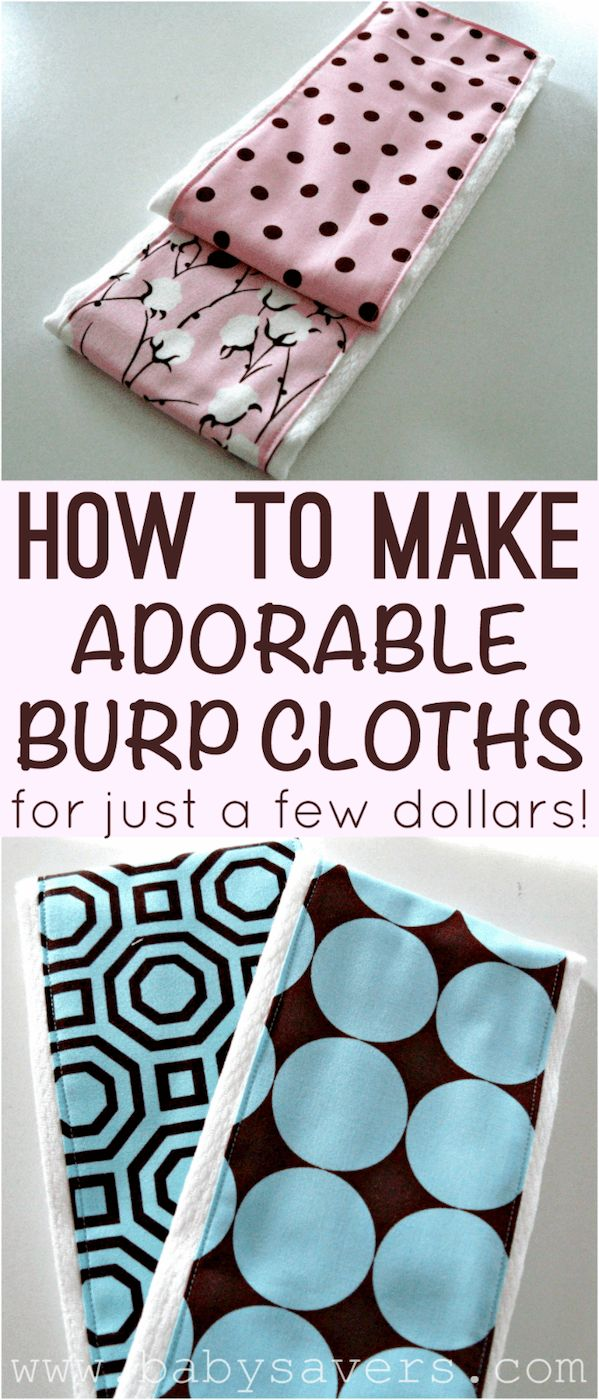 How to make homemade burp cloths for just a few dollars each! I love the patterns - they look designer!