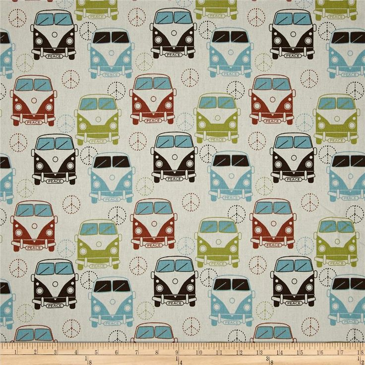 Premier Prints Love Bus Village/Natural from @fabricdotcom  Screen printed on…