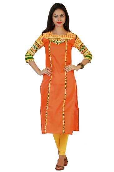 LadyIndia.com # Cotton Kurti, Classy Cotton Orange Kurti For Women, Kurtis, Kurtas, Cotton Kurti, https://ladyindia.com/collections/ethnic-wear/products/classy-cotton-orange-kurti-for-women