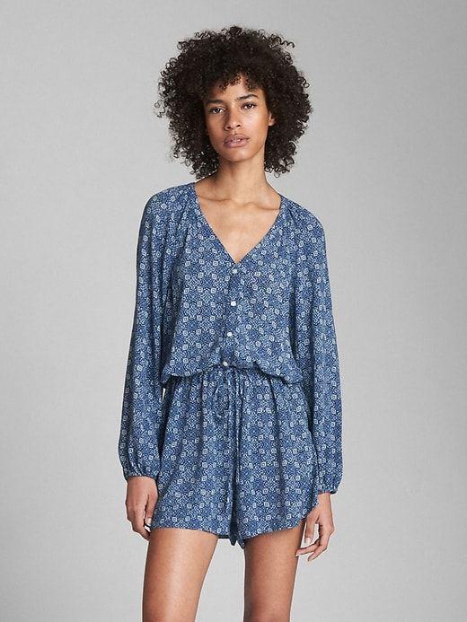 6223f82d7eb7 Gap Womens Long Sleeve Button-Front Romper Blue Print