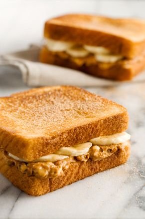for sandwiches: 2-3 Ripe bananas 8 Slices whole wheat bread 3/4 cup crunchy peanut butter 3 tablespoon honey 1 1/2 teaspoon cinnamon 1/2 cup butter