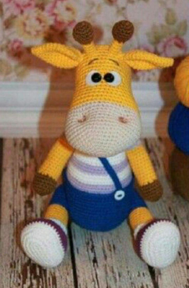 Amigurumi Strickspielzeug Modelle – Amigurumi Blue Jumpsuit Yellow Giraffe Modell …