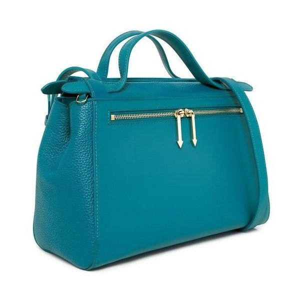 Karen Walker - Chloe Satchel Bag ($186) ❤ liked on Polyvore featuring bags, handbags, blue satchel handbags, teal purse, structured purse, top handle satchel handbags and shoulder strap handbags
