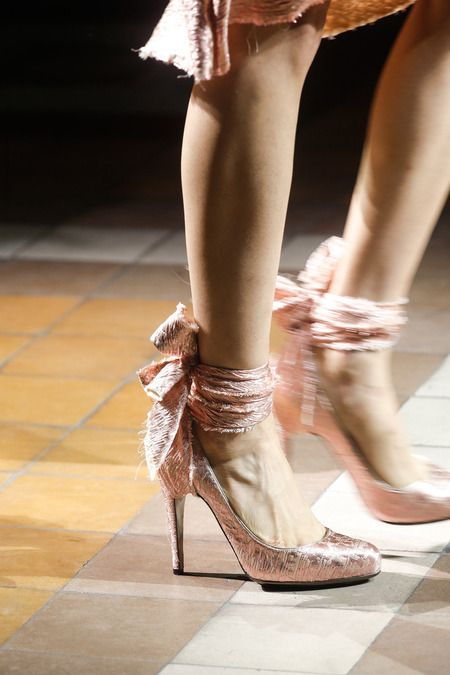 The perfect modern princess shoes from Lanvin Spring 2014 . I'd wear these with a cropped indigo jean and a grey marl tee.