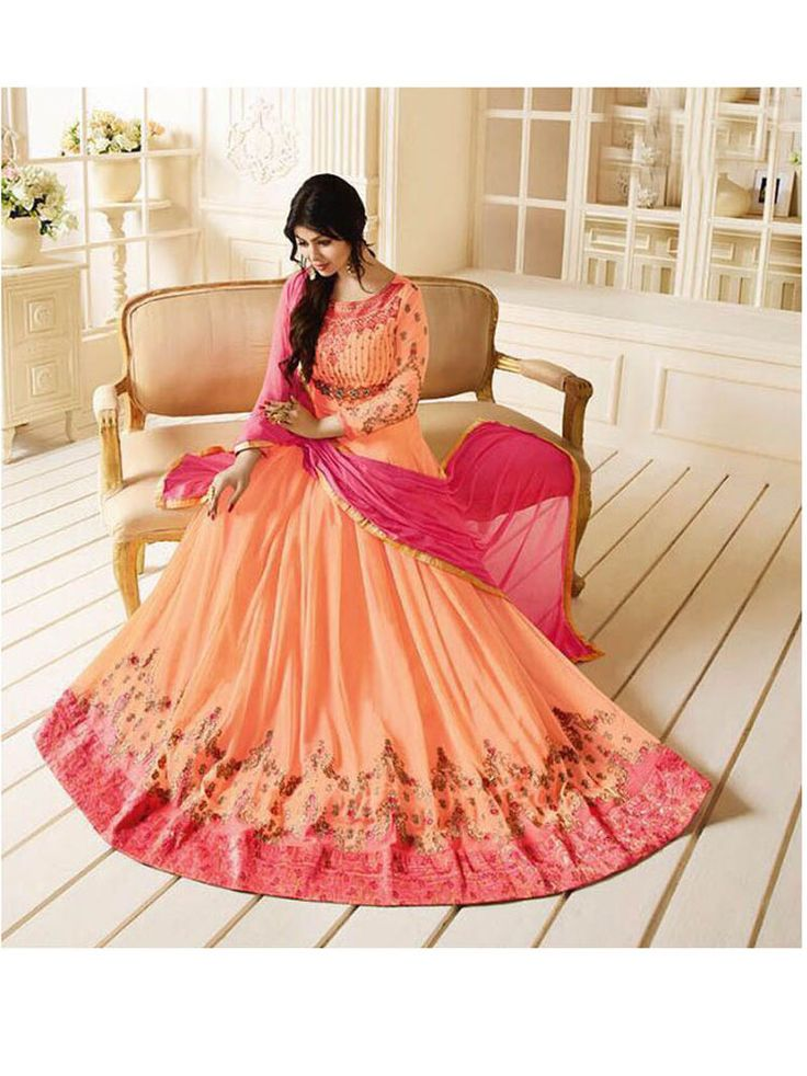 Indian Bollywood womens embroidered Indian anarkali dress Freeship for women   #Handmade #SalwarKameez #WeddingPartyWear