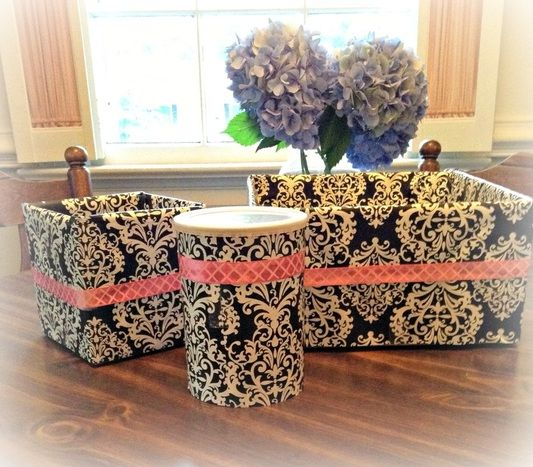 old boxes that would of been thrown away and made them into something useful & new! Cute storage solutions!
