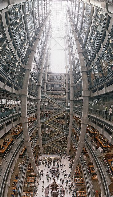 Lloyds building, London. This Richard Rogers design the building was innovative when built 20 years ago in having its services such as staircases, lifts, electrical power conduits and water pipes on the outside, leaving an uncluttered space inside. #EPRA holds a January event in this space for the listed real estate sector to consider the coming year.