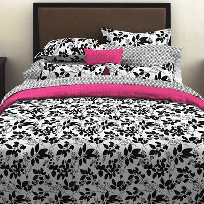 Perry Ellis Romance Floral Duvet Set Full/Queen Black