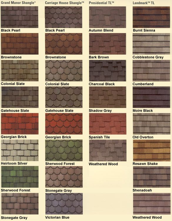 Asphalt roof shingles colors roofing shingles for Roof type names