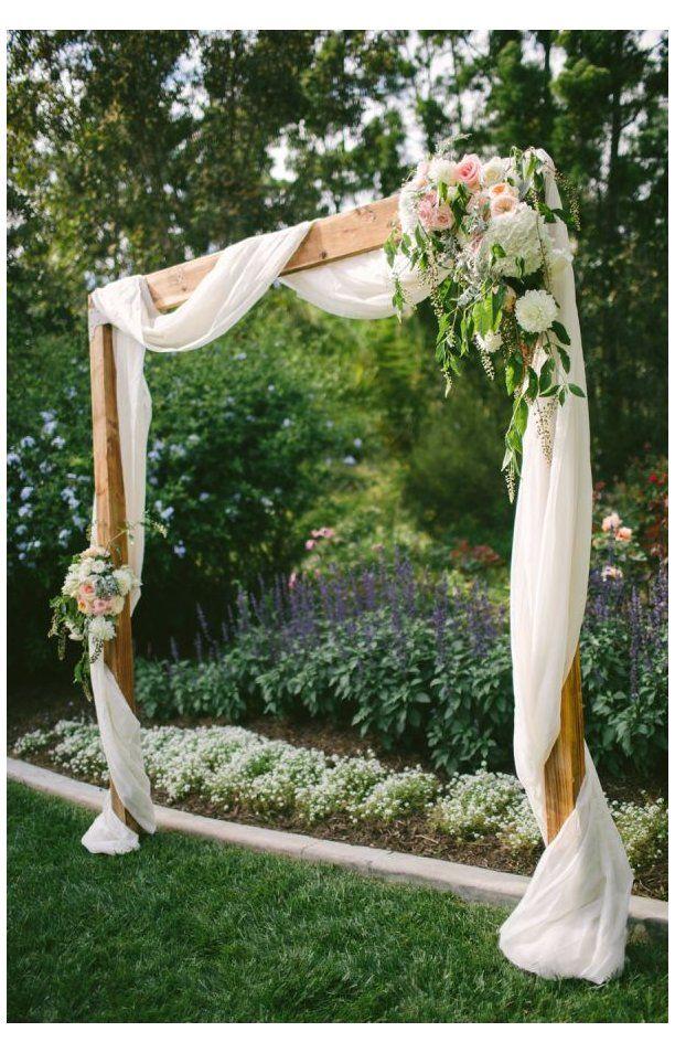 Romantic Meets Rustic Backyard Wedding Square Wedding Arch Squareweddingarch A Rustic Meets In 2020 Simple Wedding Arch Unique Wedding Receptions Backyard Wedding