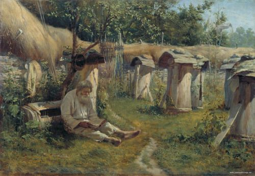 The Old Beekeeper by Nicolay Bogatov, Russian, 1875
