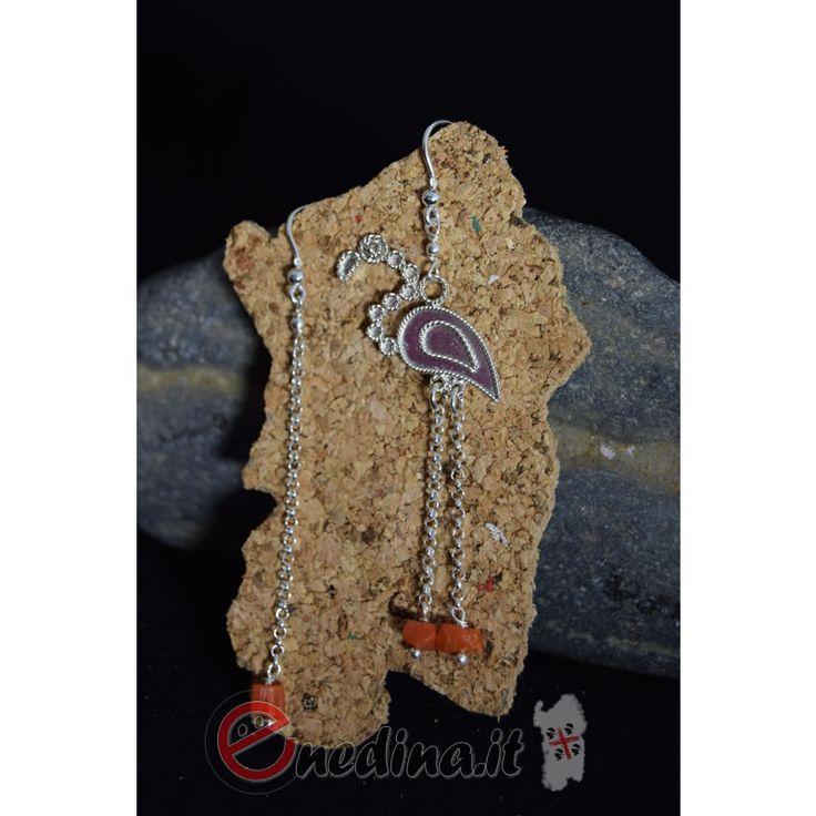 Gioiello artigianale in argento e corallo. Fenicottero. Sardegna Shop online www.enedina.it