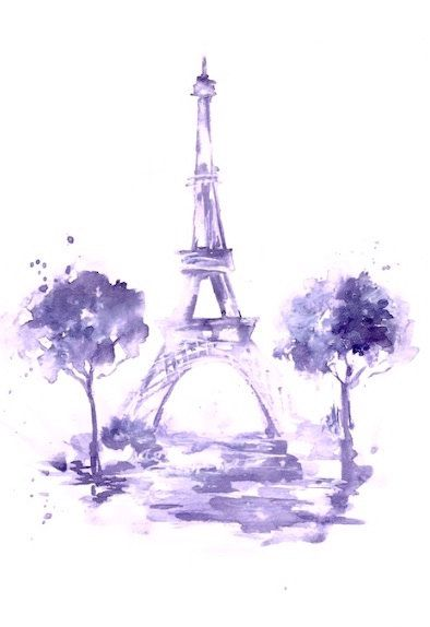 Eiffel Tower Print from Original Watercolor Paris Illustration - Paris Cityscape Illustration
