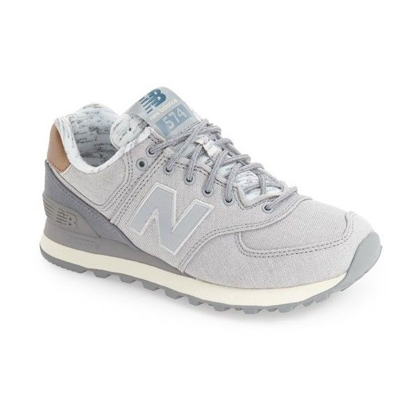 Women's New Balance '574' Sneaker (300 SAR) ❤ liked on Polyvore featuring shoes, sneakers, silver mink, new balance, new balance shoes, new balance sneakers, retro shoes and retro sneakers