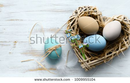 Easter background with Easter eggs in the nest on the white shabby wooden background . Lay flat with copy space.
