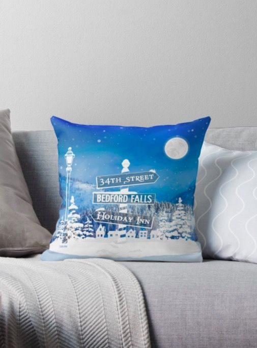 Classic Christmas movie towns and places Throw Pillow… 34th street from miracle on 34th street Bedford Falls from It's a Wonderful Life and the Holiday Inn from Bing Crosby's Holiday Inn movie