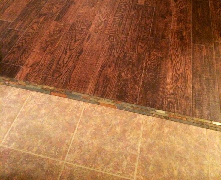 Tile To Wood Tile Transitioned Using Mosaic Tile Between