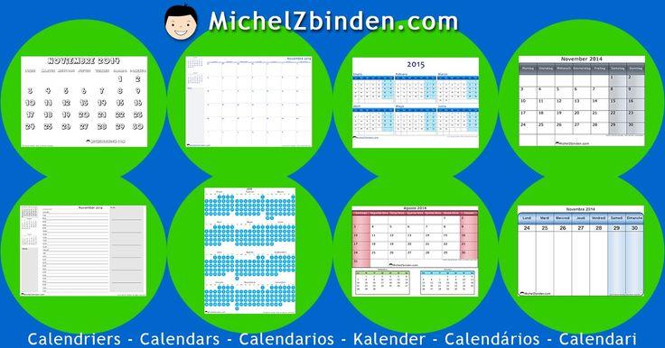 Kalender 2014, 2015 und 2016 | Kostenlos zum ausdrucken | PDF oder JPG | Von Michel Zbinden