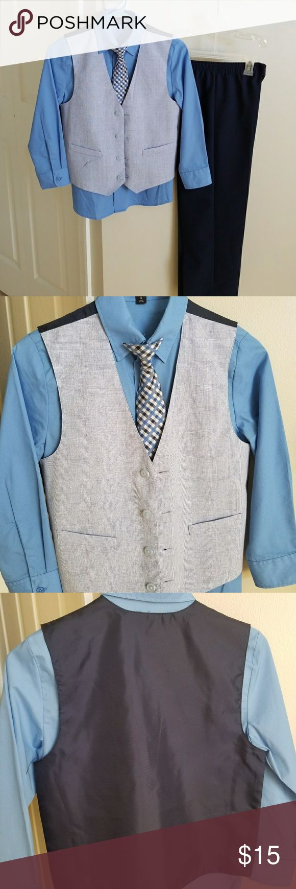 Special occasion dress outfit Only worn once this sharp set with instant style comes with this trendy navy vest, navy blue pants,  blue button down shirt and coordinating clip on tie. George Matching Sets