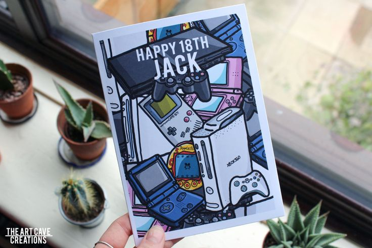 Greetings Card Colour // Custom Name/Custom Age Birthday Card // Gaming Consoles…
