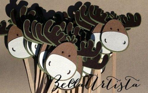 Moose Cupcake Toppers - Set of 12 | BellaArtista - Paper/Books on ArtFire