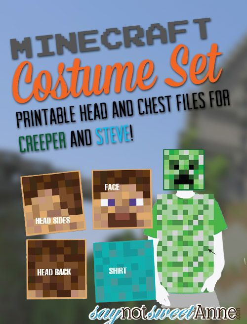 Easy Printable DIY Creeper and Steve costumes! | saynotsweetanne.com | #halloween #minecraft #costume (use this one)